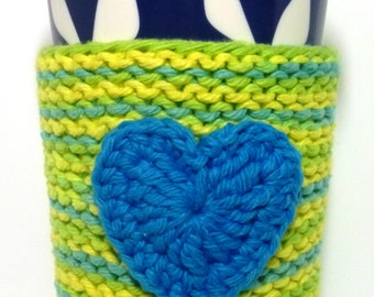 Blue Heart Coffee Cozy, Knit and Crochet