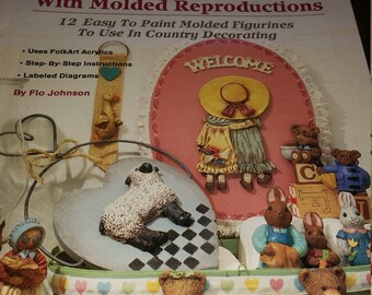 "Vintage 1988 ""Paint and Decorate with Molded Reproductions"" Craft Book by Flo Johnson"