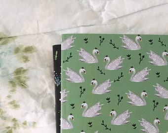 A6 blank notebooks, set of 2, swan and floral