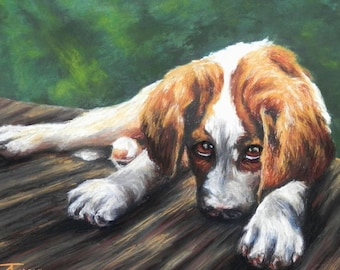 "Pet Portrait- Custom Painting in Acrylics or Pastel - Original Dog Art 20"" x 15"""