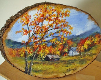 Hand Painted Wood Plaques - Autumn Landscape Painting on Basswood