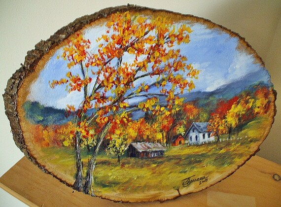 Hand Painted Wood Plaques Autumn Landscape Painting On Etsy