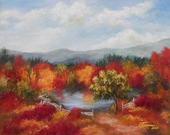 "Landscape Painting - Autumn Red Original Acrylic Art On Canvas - Autumn - 16"" x 20"""