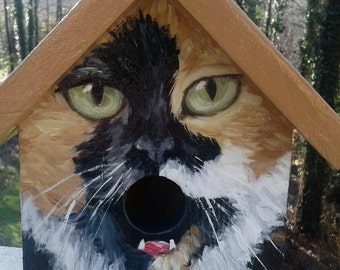 Bird House Hand Painted Custom Calico Cat Design Wood Outdoor