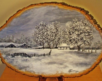 Hand Painted Wood Plaques - Winter Landscape - Custom Paintings on Basswood