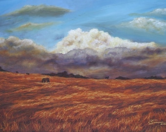 "Landscape Painting in Pastel - Original Art - Horse in field - 30"" x 20"""