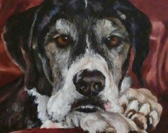 "PET PORTRAIT - Custom Painting in Acrylics or Pastel - Original Dog Art 14"" x 18"""