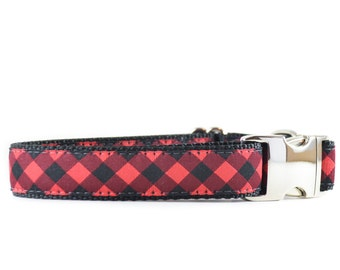 Buffalo Plaid Dog Collar - Red and Black Plaid Gingham Ribbon Collar
