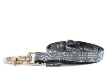Charcoal Grey Tribal Glyph Dog Leash - Aztec Southwest Lead