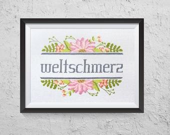 Weltschmerz - Modern Cross Stitch PDF - Instant Download