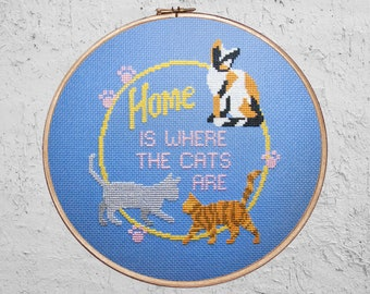 Home Is Where The Cats Are - Modern Cross Stitch PDF - Instant Download