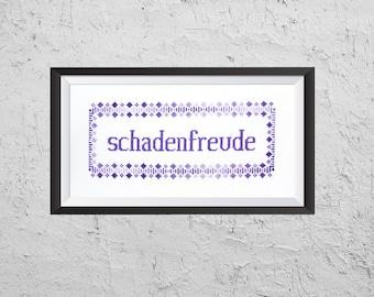 Schadenfreude - Modern Cross Stitch PDF - Instant Download