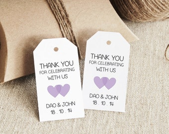 favor tag template printable small double heart design etsy