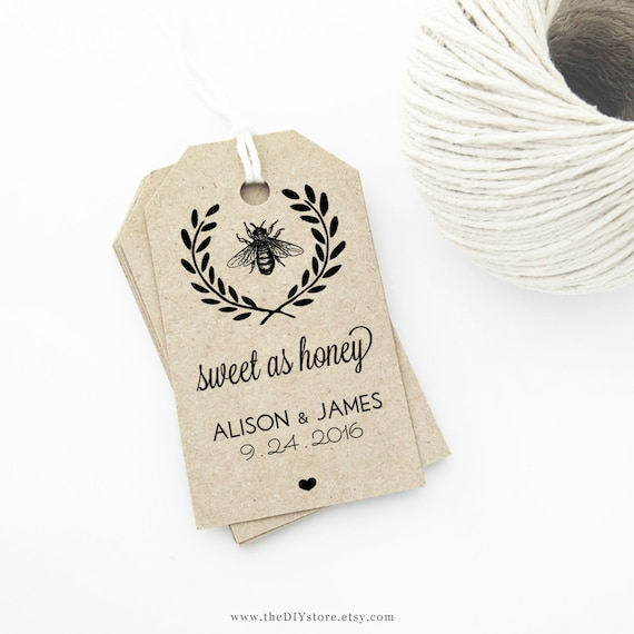 honey bee wedding favor tag template medium tag size wedding etsy
