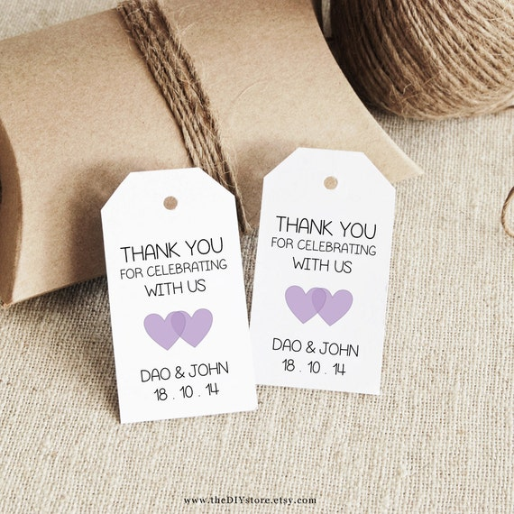 favor tag template lavender printable small double heart etsy