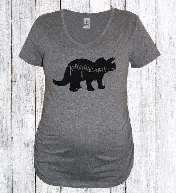 d7f8ef9a99902 Pregasaurus Vneck Maternity Shirt Pregnancy ShirtNew Mom | Etsy