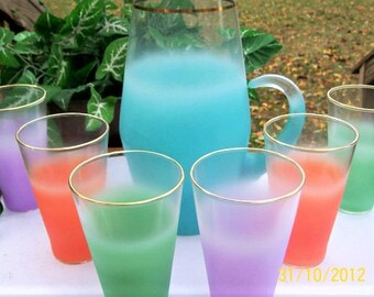 Vintage West Virginia BLENDO Multi-Colored Frosted Pitcher and 6 Glasses Beverage Set