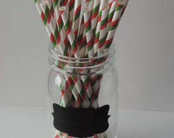 Red and Green Stripped Paper Straws
