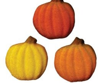 Shimmer Pumpkin Edible Sugar Dec Ons-Add these elegant Shimmer Pumpkin Sugar Dec-Ons to your Fall baked treats.