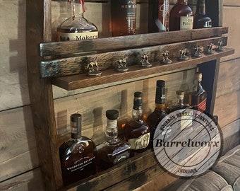 Blantons display / home bar shelves/bourbon gifts/bourbon shelves/ upcycled furniture / drinks cabinet /blantons/ liquor shelf /DISPLAY ONLY
