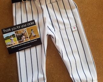 Boys Baseball Pants, White w/ Black Pinstripe Pants, toddler pants, 1st Birthday, Smash Cake, Kids, Children, belt sold separately/PreOrder