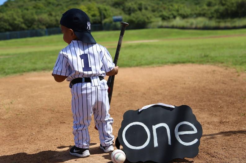 Smash Cake Baseball Photo PropBabies 1st BirthdayMYSWEETCHICKAPEA Boys Baseball Uniform Pinstripe Uniform Sportswear