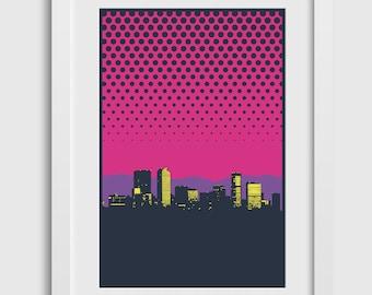 "Denver Skyline Poster (2nd Edition) • 12""x18"" •  Colorado City Art Print Gift Decor Silkscreen Limited Edition Minimal"