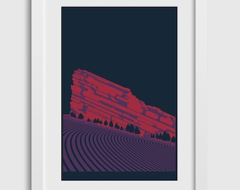 """Red Rocks Poster (3rd Ed) • 12""""x18"""" • Colorado Mountain Venue Concert Night Art Print Gift Decor Silkscreen Limited Edition Nature Outdoors"""