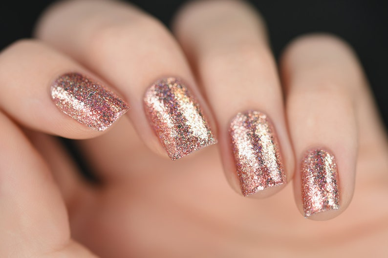 Juliette Rose Gold Holographic Nail Polish | Etsy