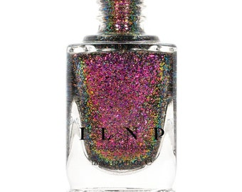 Neon Rosebud (H) - Fuchsia, Green, Gold Holographic Ultra Chrome Color Shifting Flakie Nail Polish