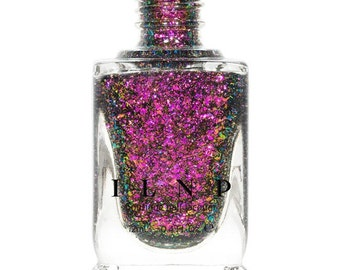 Neon Rosebud -  Fuchsia, Green, Gold Ultra Chrome Color Shifting Flakie Nail Polish
