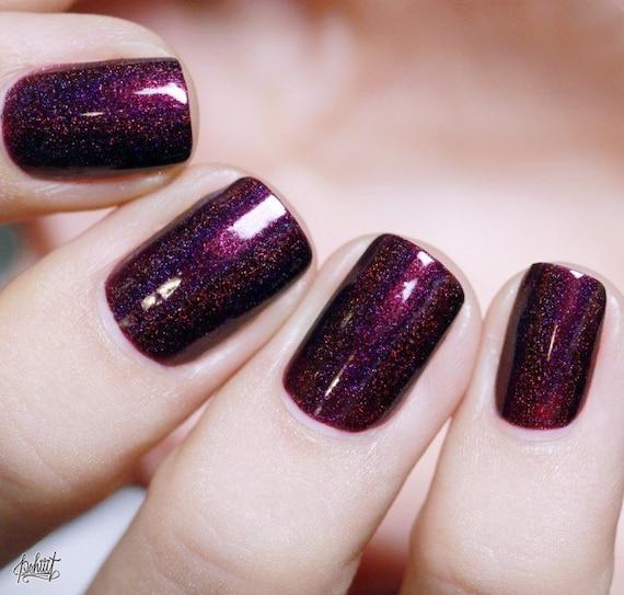 Black Orchid Deep Burgundy / Plum Vampy Holographic Nail | Etsy