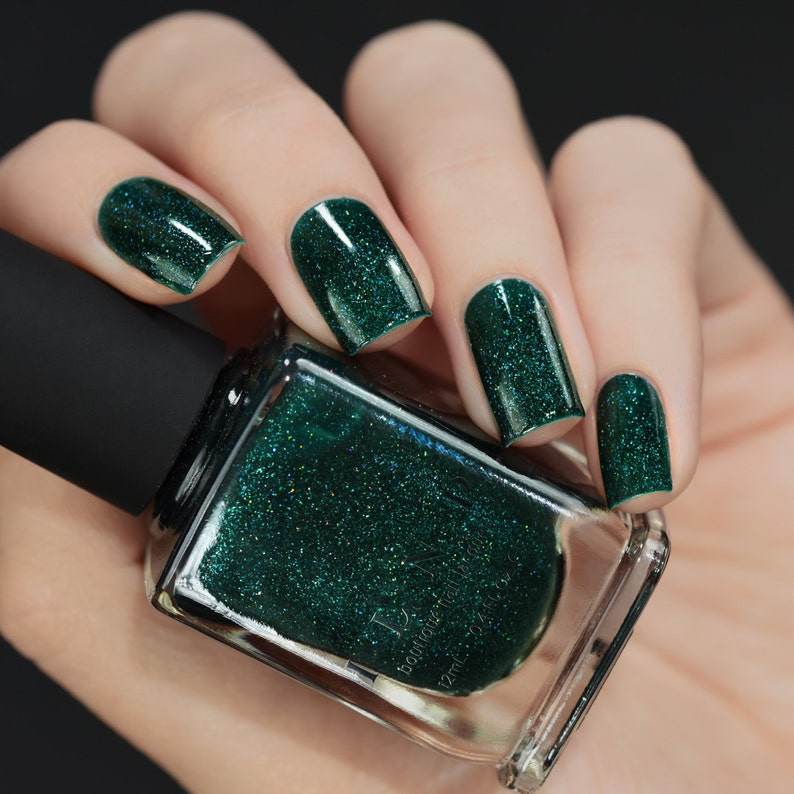 Fir Coat Sultry Emerald Green Holographic Nail Polish | Etsy