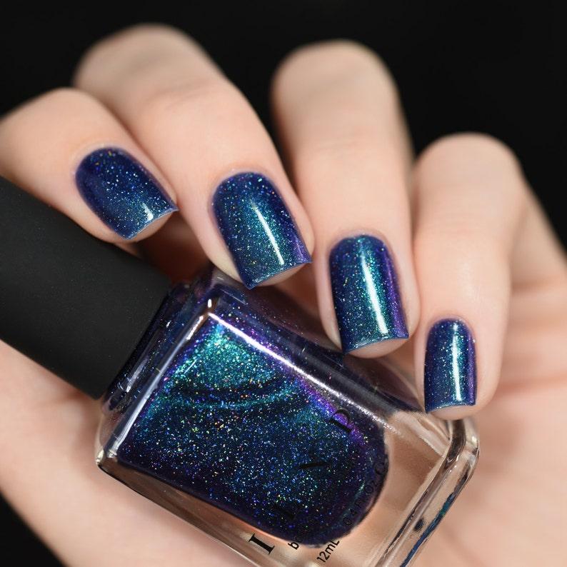 Interstellar Navy Teal Purple Holographic Nail Polish | Etsy