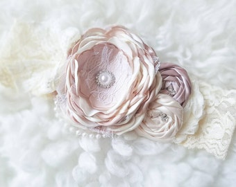 Ivory beige Couture Ivory Couture Baby girl headbands, chic couture, vintage headband, newborn headband, Photo prop
