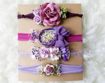 Lavender purple plum Tieback set , Photography prop, newborn headbands  , Chiffon tie back, photography prop