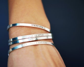 Personalized cuff bracelet / Sterling Silver / Everyday Jewelry / Simple Minimal Modern / Roman Numerals - Coordinates - Quote