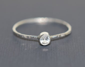 White Topaz on Sterling Silver thread/ Ultra thin stacking ring/ Everyday jewelry