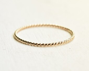 14k SOLID gold twisted band ring/ Ultra thin ring/ Stacking ring/ Everyday jewelry