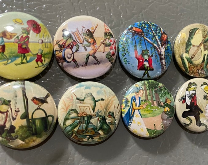 8 Frog fridge magnets, toads, frogs, reptiles, SET 2 Pinbacks, Magnets, or flatbacks. Several Sizes to choose from!