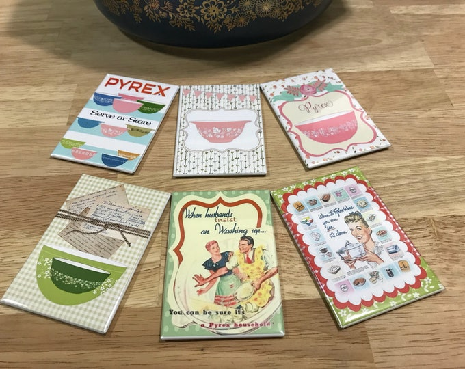 Pyrex Fridge magnets 2x3 inch Vintage Pyrex ads Set 3