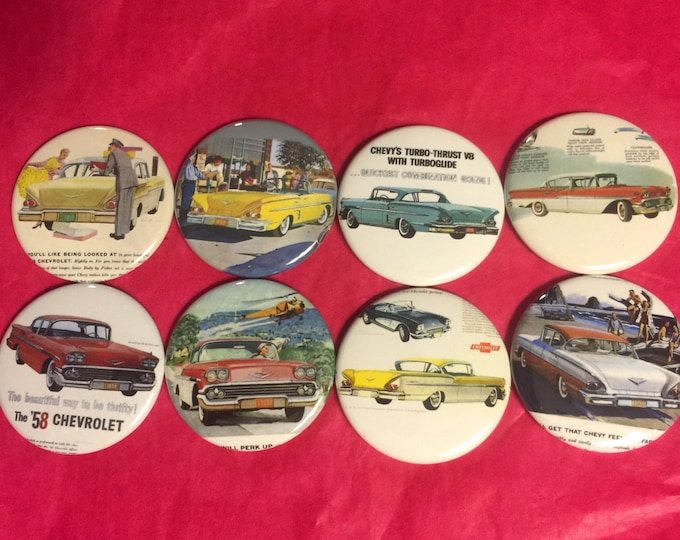 8 1958 Chevy Impala, Brookwood Bel Air Buttons Vintage Retro Set 2 Several Button Sizes and Styles