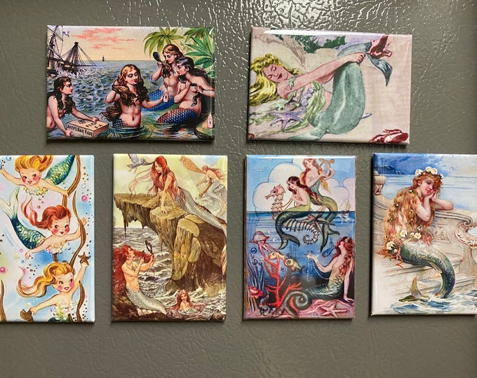 Beautiful mermaid Fridge magnets or pinback buttonss Vintage images  2x3 inch Vintage Frog Pictures