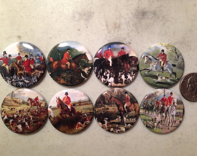 8 Fox Hunting, Equestrian, Hound dog Fridge Magnets or Pinback buttons, each 1.5 inches