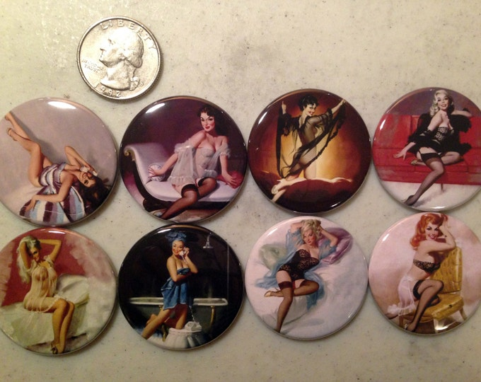 8 Pinup Girls Magnet Buttons or Pinbacks 1.5 inch buttons, Retro Vintage pin-up girls Set4