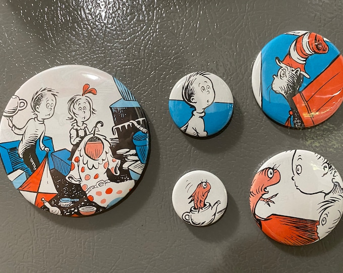 5 The Cat in the Hat magnet buttons, party favors from repurposed book Set 4