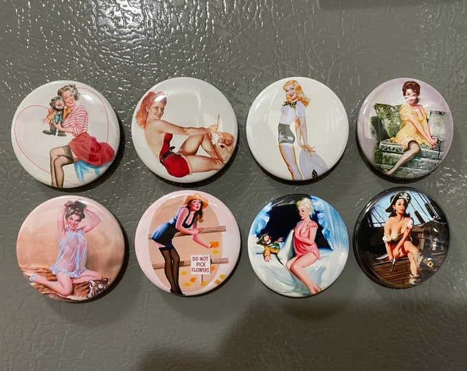 8 Pinup Girls Magnet Buttons or Pinbacks 1.5 inch buttons, Retro Vintage pin-up girls Set1