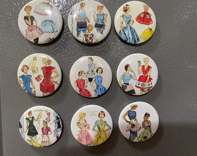 9 Apron Fridge Magnet Buttons or Pinbacks with Vintage pictures/Aprons, Kitchen, Cooking, Fridge Magnets