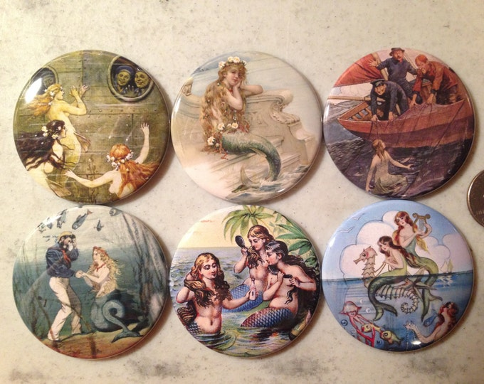 6 Vintage Mermaid Fridge Magnets Set 1.  Choose your size/style.