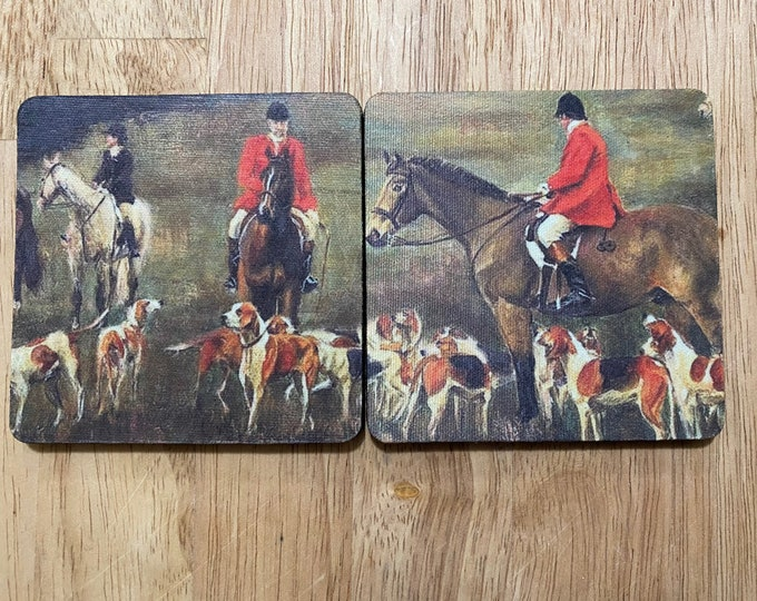 2 Coasters with Pictures of Equestrian Fox Hunting images